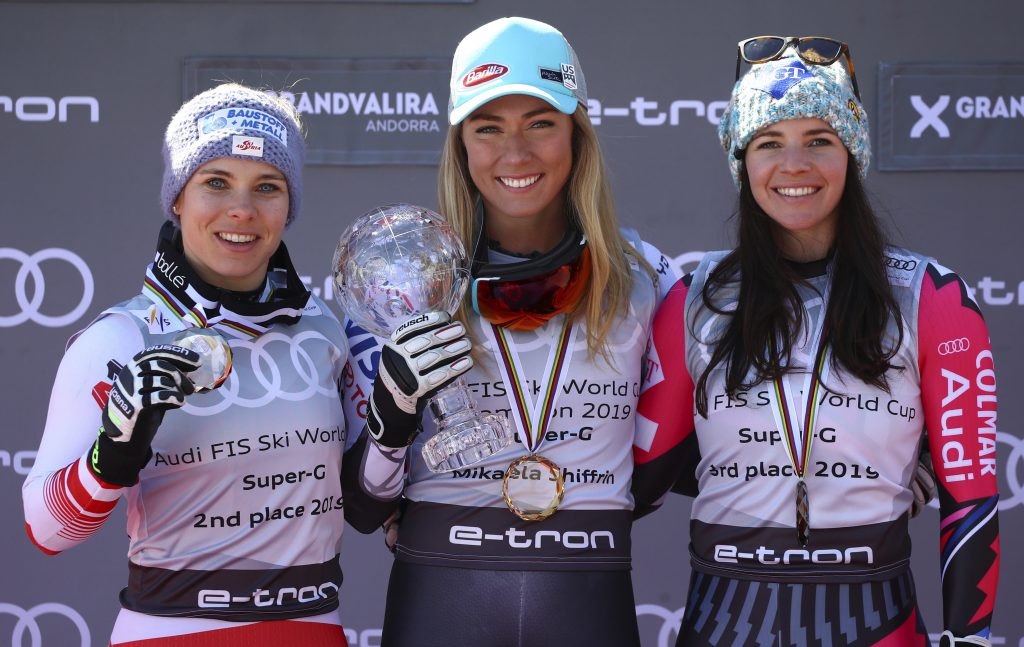 It's the World Cup season's super-G podium with Mikaela Shiffrin atop it while only competing in four races during the season.
