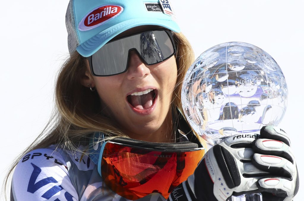 Meet Mikaela Shiffrin's 10th World Cup globe. She added super-G on Thursday to six slalom titles and three overall crowns.