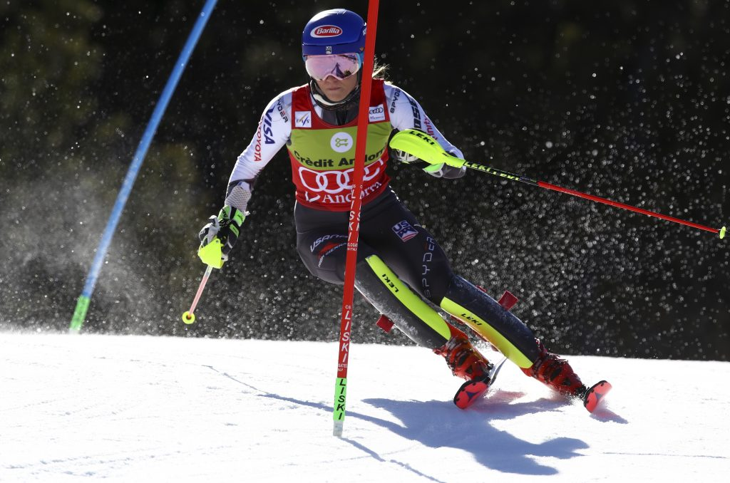Mikaela Shiffrin has the fastest second run on Saturday to win the World Cup finals slalom over Switzerland's Wendy Holdener by 7-hundredths of a second.