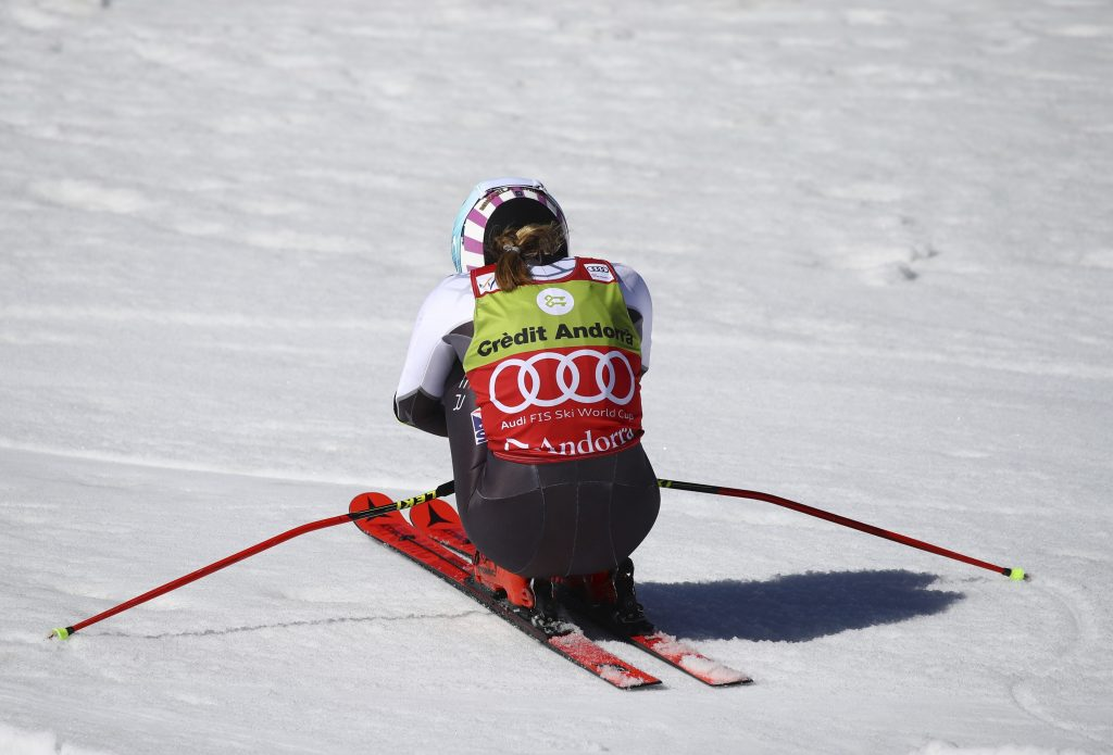 One last time in the 2017-18 season, Mikaela Shiffrin charges toward victory in the World Cup finals giant slalom. Shiffrin won her 17th World Cup race of the season, a new record.