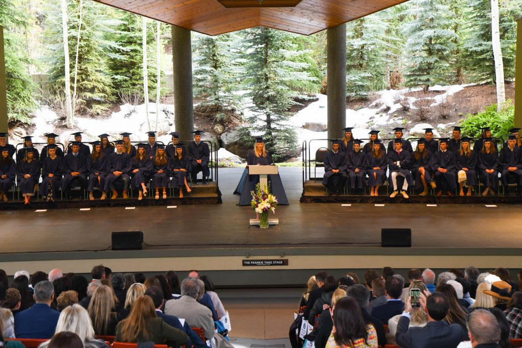 A VMS senior addresses the crowd at Friday's commencement in Vail.