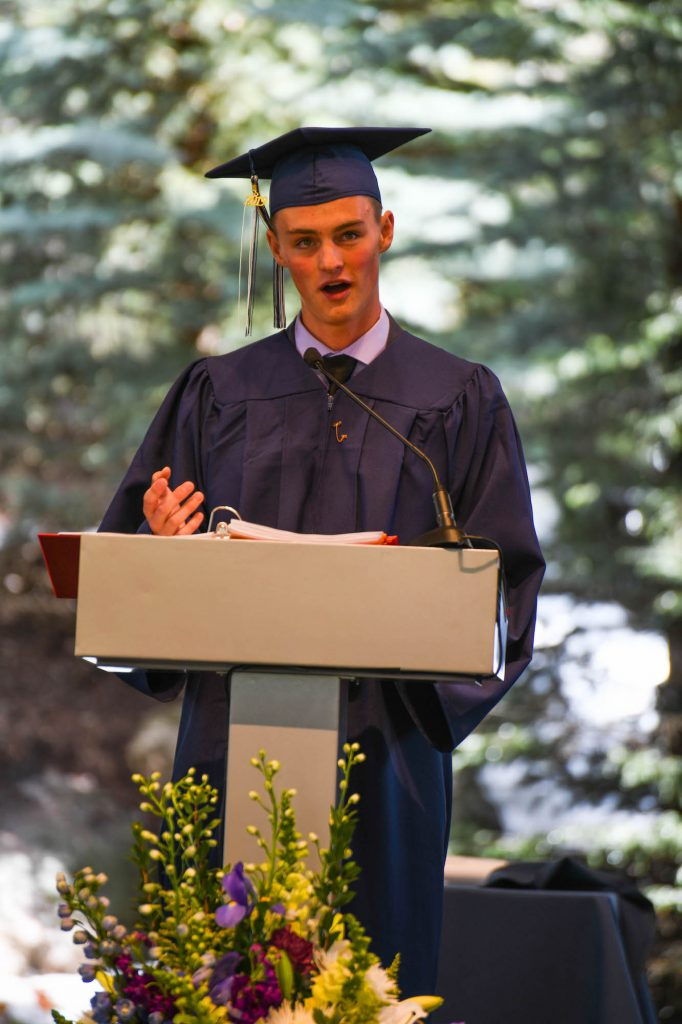 Cameron Wolfe delivers the senior address at Friday's Vail Mountain School commencement at Ford Amphitheater in Vail.