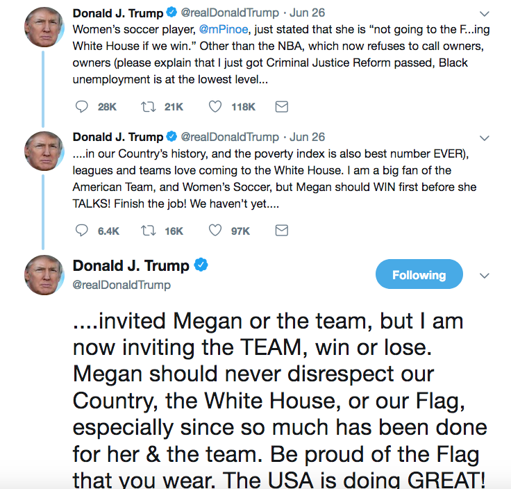 Trump showing his colors on U S  Women's soccer team