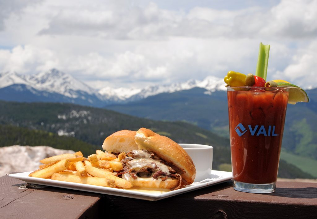Bistro Fourteen's smoked bison french dip with a bistro bloody mary