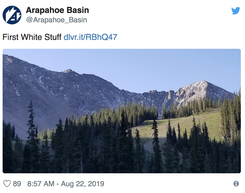"""First """"white stuff"""" of the 2019-2020 season touches down at Arapahoe Basin"""