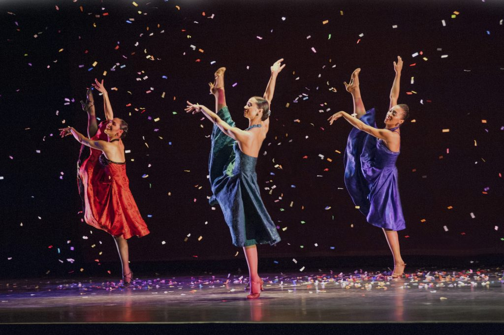 "Left to right: Melissa Verdecia, Eila Valls, and Jenna Marie of Ballet Hispanico performing in ""Club Havana"", which was featured on PBS's ""Live From Lincoln Center."" Ballet Hispanico performs on Saturday night at the Vail Dance Festival."