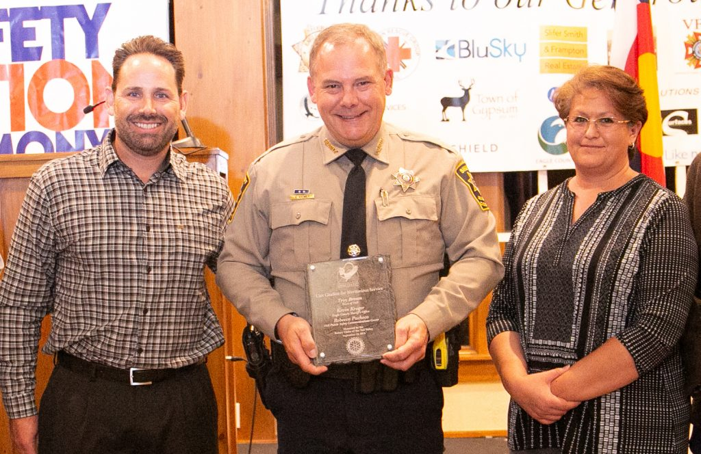 Unit Citation Meritorious Service Troy Brown of the Town of Vail, Kevin Kromer of the Eagle County Sheriff's Office, and Rebecca Pacheco of the Vail Public Safety Communications Center. Since 2004, the three have worked together behind the scenes, to make sure the communications and data systems provide real-time information to all emergency responders in Eagle County. This team has affected the outcome of every single call for service in Eagle County for the past 15 years.