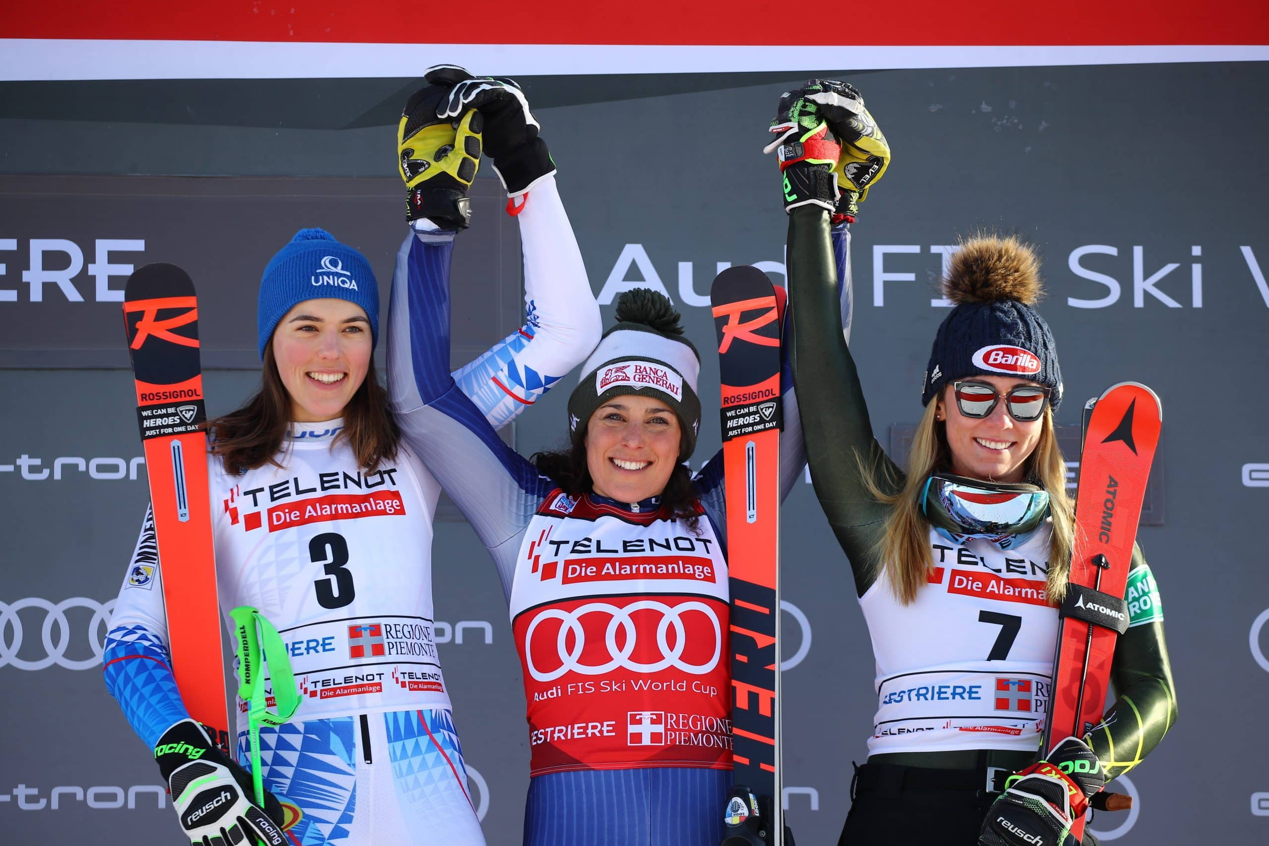 Mikaela Shiffrin takes third in World Cup giant slalom in Sestriere; Brignone and Vlhova share win