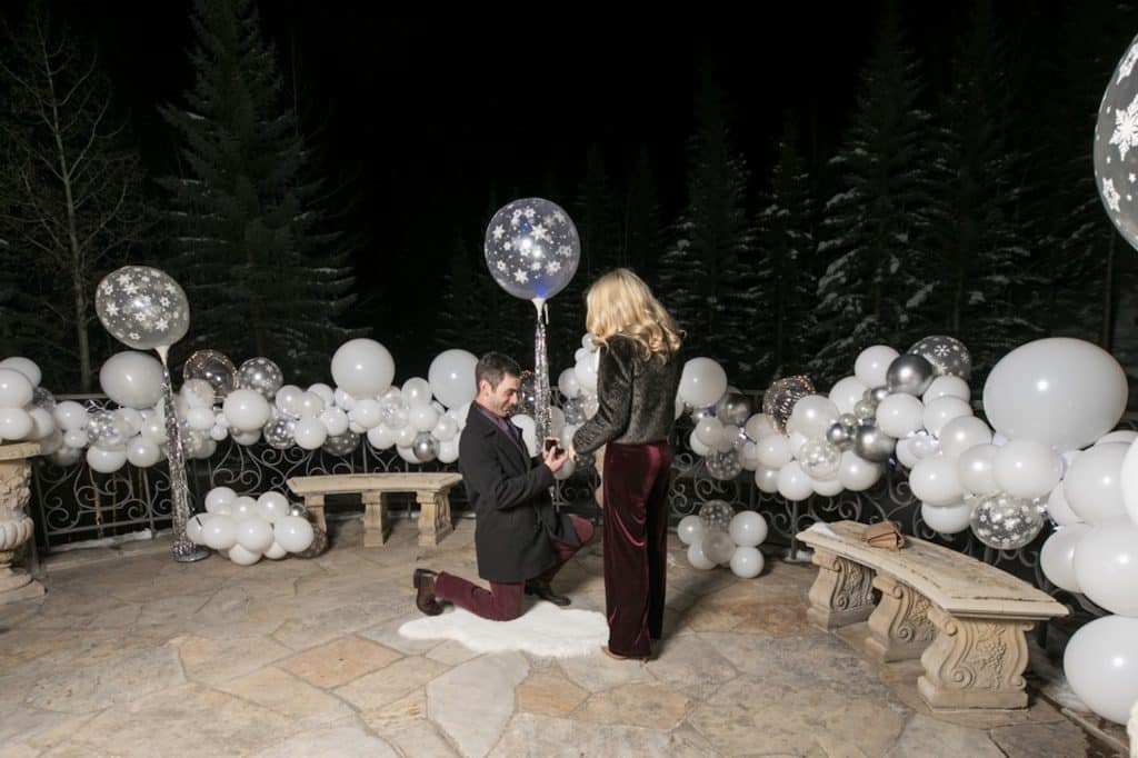 The Balloon Bar helped turn the Splendido patio into a winter wonderland for Alex's proposal to Jenny. Splendido brought in wines from all the couple's favorite wineries and created a special wine-pairing menu for them.